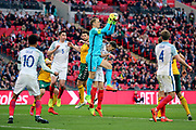 Joe Hart of England saving the ball during the FIFA World Cup Qualifier group stage match between England and Lithuania at Wembley Stadium, London, England on 26 March 2017. Photo by Matthew Redman.