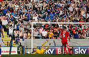 Rochdale fans watch a save by Ben Amos of Charlton Athletic during the EFL Sky Bet League 1 match between Rochdale and Charlton Athletic at Spotland, Rochdale, England on 5 May 2018. Picture by Paul Thompson.