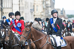 Edinburgh Riding of the Marches commemorates the return in 1513 of Randolph Murray clasping the Ancient Blue Blanket Banner with the tragic news of the defeat of the Scottish Army at the Battle of Flodden. 280 Horses traverse the boundaries of Edinburgh before culminating in a procession along the Royal Mile culminating in a ceremony celebrating the return of the flag at the historic Mercat Cross.