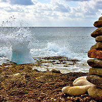 Blow Hole and Rock Tower in East End, Grand Cayman <br />