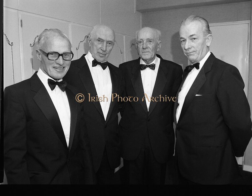 Bank Of Ireland GAA Hurling Allstars..1986..31.01.1986..01.31.1986..31st January 1986..To celebrate their achievements on the field of hurling the following players were recognised by the GAA and Bank of Ireland:.Pat Delaney,Offaly.Seamus Coen, Galway.Sylvie Linnane,Galway.Ger Coughlan,Offaly.Liam Fennelly,Kilkenny.Nicholas English,Tipperary.John Fenton,Cork.Pat Cleary,Offaly.Ger Cunningham,Cork.Padraig Horan,Offaly.Joe Cooney,Galway.Brendan Lynsky,Galway.Eugene Coughlan,Offaly.Pat Critchly,Laois.Peter Finnerty,Offaly...Inducted into the Hall of Fame were Tim Landers and John Joe Landers for football and Frank O'Rourke for hurling..The awards ceremony took place in The Burlington Hotel, Dublin...Photograph of Tim Landers,John Joe Landers, Eugene Coughlan and Frank O'Rourke,Managing Director,Bank Of Ireland.