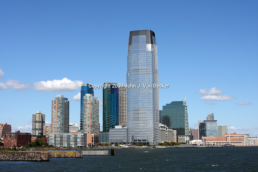 Jersey City skyline, New Jersey, USA. The Goldman Sachs Building is the tallest building in New Jersey at  781 feet high with 42 floors.
