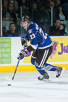 KELOWNA, CANADA -FEBRUARY 8: Axel Blomqvist #23 of the Victoria Royals skates with the puck against the Kelowna Rockets on February 8, 2014 at Prospera Place in Kelowna, British Columbia, Canada.   (Photo by Marissa Baecker/Getty Images)  *** Local Caption *** Axel Blomqvist;