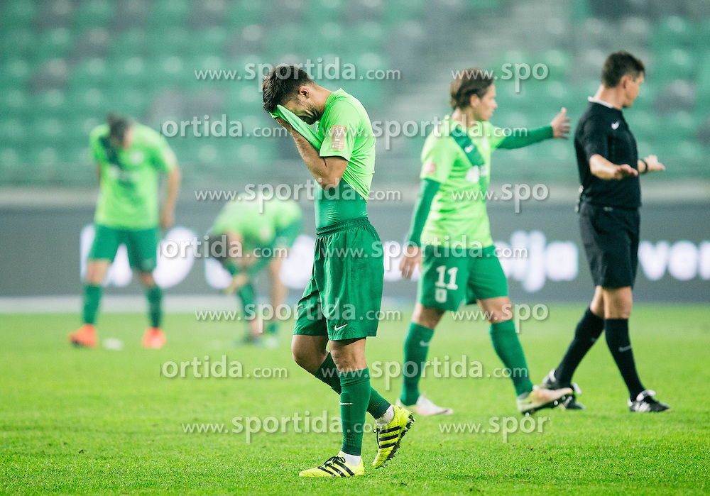 Rok Kronaveter of NK Olimpija reacts after the football match between NK Olimpija and NK Maribor in Round #13 of Prva liga Telekom Slovenije 2016/17, on October 15, 2016 in SRC Stozice, Ljubljana, Slovenia. Photo by Vid Ponikvar / Sportida