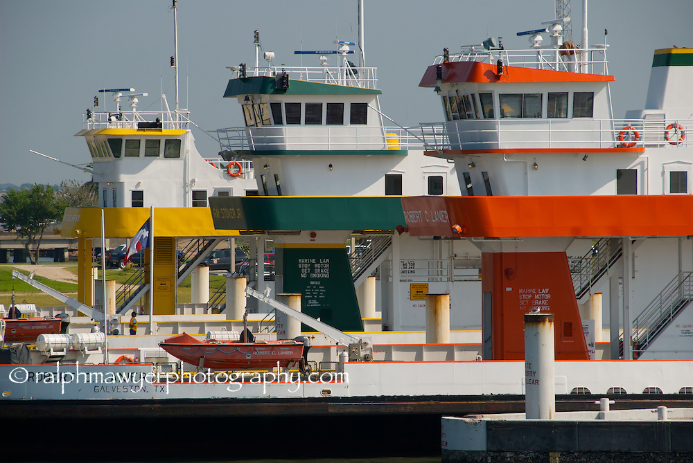 Texas state ferries, including the Ray Stoker Jr. and Dewitt Greer, operating between Galveston Island and Bolivar Peninsula, Texas.