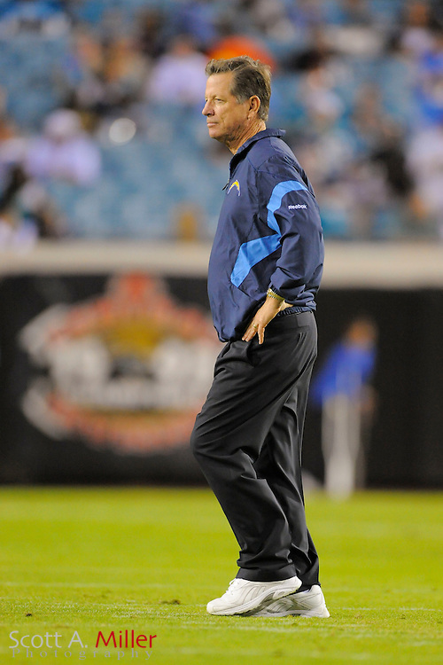 San Diego Chargers head coach Norv Turner during the Chargers game against the Jacksonville Jaguars at EverBank Field on Dec. 5, 2011 in Jacksonville, Fla. .©2011 Scott A. Miller