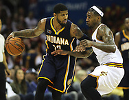 April 17, 2017 - Cleveland, OH, USA - Indiana Pacers forward Paul George plays against Cleveland Cavaliers guard Iman Shumpert during the third quarter in Game 2 of an Eastern Conference playoff game on Monday, April 17, 2017, at Quicken Loans Arena in Cleveland, Ohio. (Credit Image: © Leah Klafczynski/TNS via ZUMA Wire)