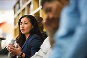 MHS Alum Marissa Canez presents during the Black Student Union seminar at Milpitas High School in Milpitas, California, on February 27, 2016. (Stan Olszewski/SOSKIphoto)