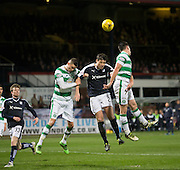 Celtic captain Scott Brown and Mikael Lustig combine to foil Dundee&rsquo;s Darren O&rsquo;Dea in the air - Dundee v Celtic, Ladbrokes Scottish Premiership at Dens Park<br />  <br />  - &copy; David Young - www.davidyoungphoto.co.uk - email: davidyoungphoto@gmail.com