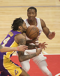 November 27, 2017 - Los Angeles, California, U.S - Brandon Ingram #14 of the Los Angeles Lakers loses the ball during their game with the Los Angeles Clippers on Monday November 27, 2017 at the Staples Center in Los Angeles, California. Clippers vs Lakers. (Credit Image: © Prensa Internacional via ZUMA Wire)