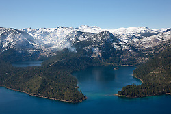 """""""Emerald Bay, Lake Tahoe Aerial 3"""" - Photograph of Emerald Bay in Lake Tahoe, shot from an amphibious seaplane with the door removed. Cascade Lake can be seen on the left."""
