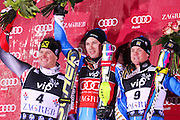 MYHRER Andre (SWE) - winner, KOSTELIC Ivica (CRO) - 2nd place, HARGIN Mattias (SWE) - 3rd place, 06/01/2011, VIP Snow queen trophy, AUDI FIS Ski World Cup men slalom