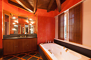 Interior house, comfortable bathroom, red walls