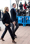 PALMA DE MALLORCA, SPAIN, 2015, FEBRUARY 09<br /> <br /> Princess Cristina and her husband Inaki Urdangarin, have heard other statements of days in the Courts of Palma de Mallorca as the first defendant to testify Tuesday at the trial of the case Noos, his friend Jose Luis Ballester Pepote, former Director General Sports of the Balearic Government, has directly blamed all intrigues to the brother in law of King Felipe and the president Jaume Matas, who was the one who gave the orders to hire all costs in Noos Institute. The aim was to hire Urdangarin and all that came of it, he said. Inaki partner, Diego Torres, came with his wife Ana Maria Tejeiro<br /> ©Exclusivepix Media