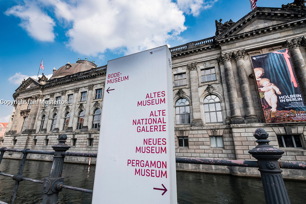Tourist direction sign pointing way to various museums on Museumsinsel (Museum Island) in Berlin Germany