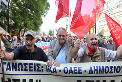 October 3, 2017 - Athens, Greece - Protesting pensioners chant anti-austerity slogans as they demonstrate in central Athens. Pension associations launched a 10-day nationwide protest campaign, starting in Athens, against further bailout-related pension payment cuts planned over the next two years. (Credit Image: © Aristidis Vafeiadakis via ZUMA Wire)