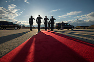 President of Sierra Leone, Ernest Bai Koroma's motorcade is saluted during departure at Andrews AFB March 25, 2013.  Photo Ken Cedeno