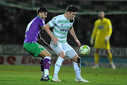 Yeovil Town's Kieffer Moore is tackled by Bristol City's Marlon Pack - Photo mandatory by-line: Harry Trump/JMP - Mobile: 07966 386802 - 10/03/15 - SPORT - Football - Sky Bet League One - Yeovil Town v Bristol City - Huish Park, Yeovil, England.