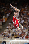 17 August 2004: Russian Gymnast ANNA PAVLOVA (RUS) competing in the beam event during the Women's Artistic Gymnastics Team Final in the Olympic Indoor Hall at the 2004 Olympic Games, Athens, Greece. <br />