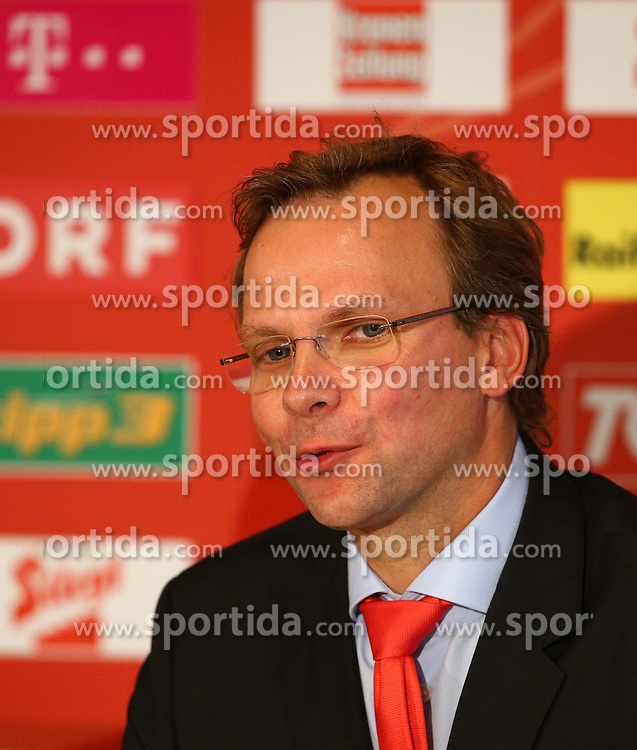 03.09.2013, Ernst Happel Stadion, Wien, AUT, FIFA WM Qualifikation, Oesterreich vs Deutschland, Pressekonferenz OEFB, im Bild Andreas Bierwirth, (CEO T Mobile Austria) // during a press conference of Team Austria (AUT) in front of the FIFA World Cup Qualifier Match between Austria (AUT) and Germany (GER) at the Hilton Danube Vienna, Vienna, Austria on 2013/09/03. EXPA Pictures © 2013, PhotoCredit: EXPA/ Thomas Haumer