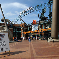 Game start time is listed on a board outside the front entrance gate to Comerica Park, in Detroit, Michigan on June 15, 2010.