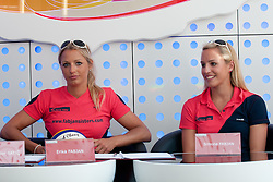 Erika and Simona Fabjan at Fabjan Sisters Press Conference about signing sponsorship contract with Nova Kreditna Banka Maribor, on May 24, 2011 in NKBM Poslovalnica Ljubljana, , Slovenia. (Photo by Matic Klansek Velej / Sportida)