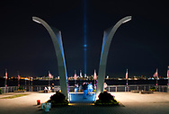 This waterfront memorial dedicated to Staten Islanders lost on 9/11 frames where the towers stood. (2017)