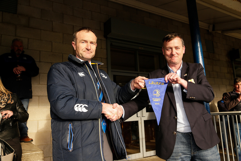AIL Rugby at Old Balreask, Navan, 6th March 2016<br /> Navan RC vs Trinity<br /> Philip Brady presents the pendant to Navan RC President, Paul Beggy<br /> Photo: David Mullen /www.cyberimages.net / 2016