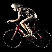 Professional triathlete Brett Wilking on triathlon bike.