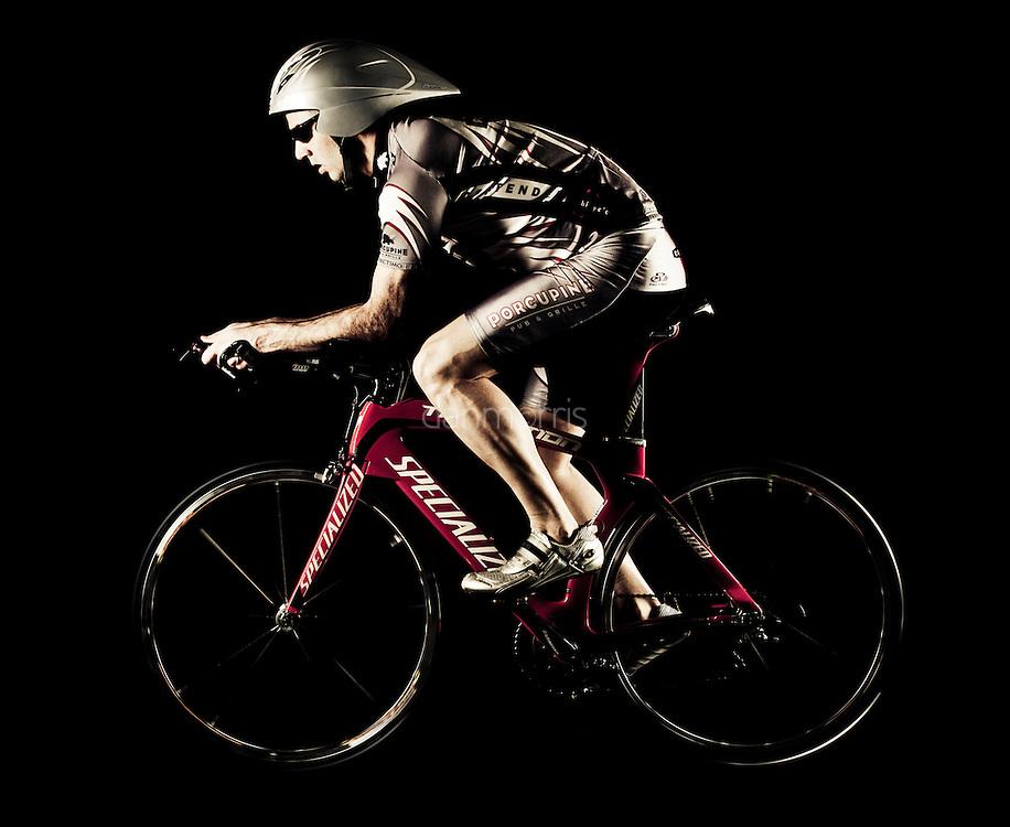 Professional triathlete Brett Wilking on triathlon bike.