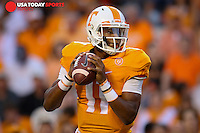 Sep 19, 2015; Knoxville, TN, USA; Tennessee Volunteers quarterback Joshua Dobbs (11) during the first quarter against the Western Carolina Catamounts at Neyland Stadium. Mandatory Credit: Randy Sartin-USA TODAY Sports
