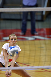 16 AUG 2008:  Mallory Leggett digs out a serve during the annual Red-White intra-squad scrimmage at Redbird Arena on the campus of Illinois State University in Normal Illinois.