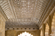 The ceiling of the Sheesh Mahal (hall of mirrors) at the Amber Fort in<br /> Jaipur, Rajasthan, India