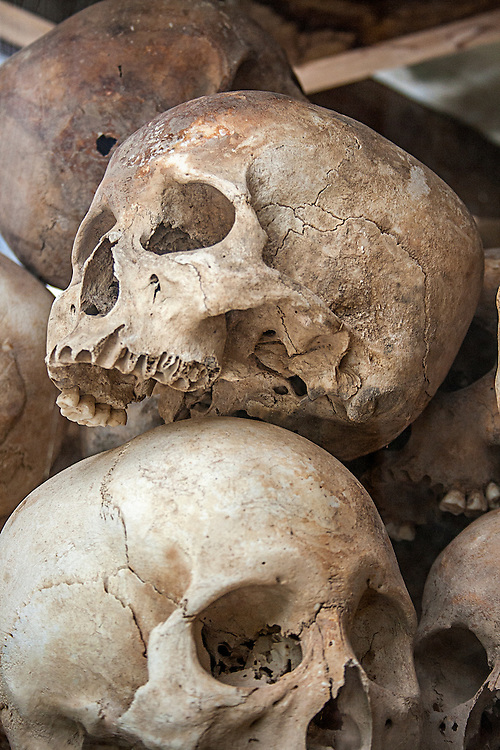Skulls at the Killing Fields in Cambodia
