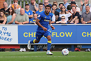 AFC Wimbledon striker Andy Barcham (17) dribbling during the EFL Sky Bet League 1 match between AFC Wimbledon and Doncaster Rovers at the Cherry Red Records Stadium, Kingston, England on 26 August 2017. Photo by Matthew Redman.