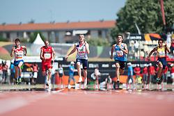 RUSHGROVE Ben, ZHIRNOV Andrey, CHASANOFF Tommy, PAVLYK Roman, MORENO MARQUEZ Juan, USA, GBR, RUS, UKR, COL, 100m, T36, 2013 IPC Athletics World Championships, Lyon, France