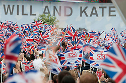 LONDON, UK  29/04/2011. The Royal Wedding of HRH Prince William to Kate Middleton. Crowds gather in Trafalgar Square in central London, to celebrate the marrige of HRH Prince William and Katherine Middleton. Photo credit should read MICHAEL GRAAE/LNP.