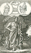 Aesculapius (Asklepios) Roman and Greek god of healing, son of Apollo and Hygeia, with his symbol of a serpent entwined round a staff.  Engraving, 1798.