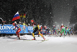 05.01.2012, DKB-Ski-ARENA, Oberhof, GER, E.ON IBU Weltcup Biathlon 2012, Staffel Herren, im Bild das Starterfeld am Birxstieg/ Birxsteig // during relay Mens of E.ON IBU World Cup Biathlon, Thüringen, Germany on 2012/01/05. EXPA Pictures © 2012, PhotoCredit: EXPA/ nph/ Hessland..***** ATTENTION - OUT OF GER, CRO *****