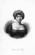 Germaine de Stael (1766-1817), 1843.  French writer, novelist and political propagandist born in Paris, was the only child of Jacques Necker, French statesman and financier. Married unhappily in 1786 to the Swedish ambassador to France, she had many affairs, including a liaison with the author and political philosopher Benjamin Constant. From 1792 she spent a number of periods of exile at Coppet, her estate by Lake Geneva. From 'Diary and Letters of Madame D'Arblay, 1778-1840' by Fanny Burney, Madame D'Arblay. (London, 1843).