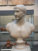 Marble bust of Trajan, Roman 108-117.  This bust, one of many issued to commemorate the emperor Trajan's Decennalia (tenth anniversary of his accession.  Trajan was born at Italica near Seville in Modern Spain, and was the first non-Italian emperor, reflecting the political and economic shifts taking place within the Roman empire.