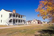 "The colonial style officer's residence known as ""Old Bedlam"" and the post trader's store at Fort Laramie, Fort Laramie National Historic Site, Wyoming"