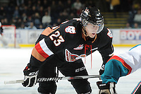 KELOWNA, CANADA, FEBRUARY 17: Victor Rask #23 of the Calgary Hitmen faces off against the Kelowna Rockets on February 17, 2012 at Prospera Place in Kelowna, British Columbia, Canada (Photo by Marissa Baecker/Shoot the Breeze) *** Local Caption ***