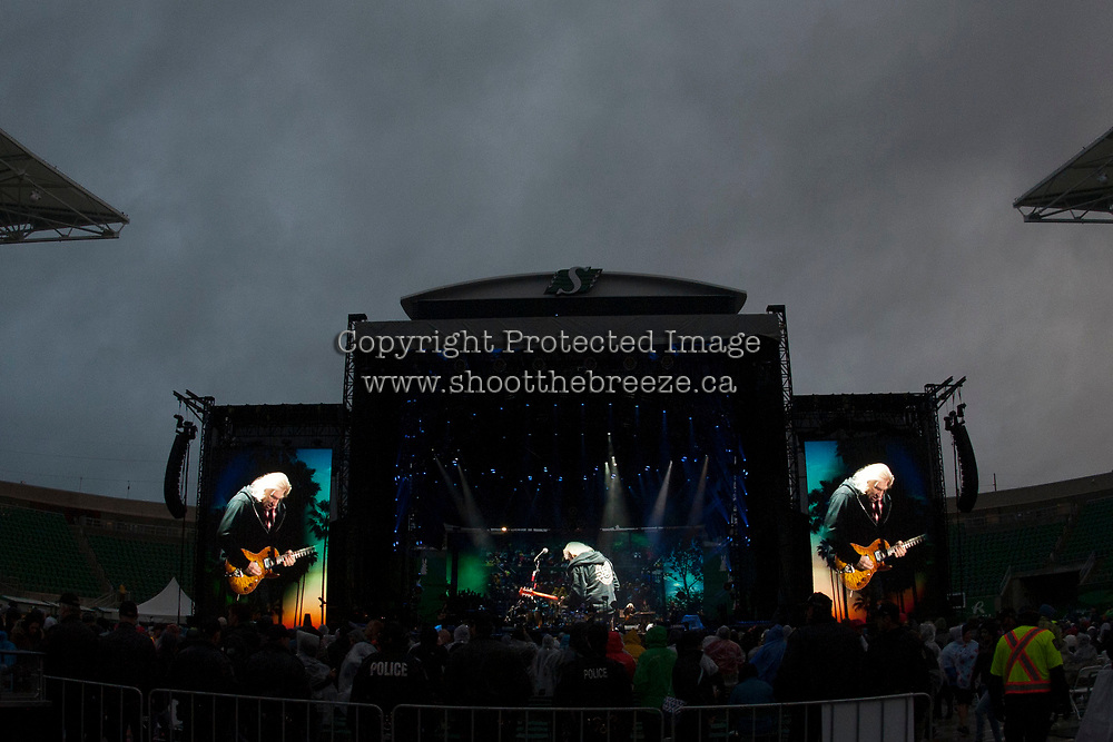REGINA, SK - MAY 17: Joe Walsh of the Eagles is seen on the video screen during the opening of the 2018 MasterCard Memorial Cup at Mosaic Stadium on May 17, 2018 in Regina, Canada. (Photo by Marissa Baecker/Shoot the Breeze)