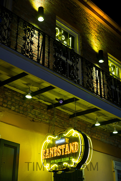 Sign for Bandstand live blues club in famous Bourbon Street in French Quarter of New Orleans, USA
