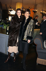 Left to right, sisters CHRISTINA ESTRADA JUFFALI and MISCHA SUNDSTAD at the 1st Baglioni Hotel's Designer Lunch featuring designs by Amanda Wakelel held at The Baglioni Hotel, 60 Hyde Park gate, London on 1st February 2006.<br />