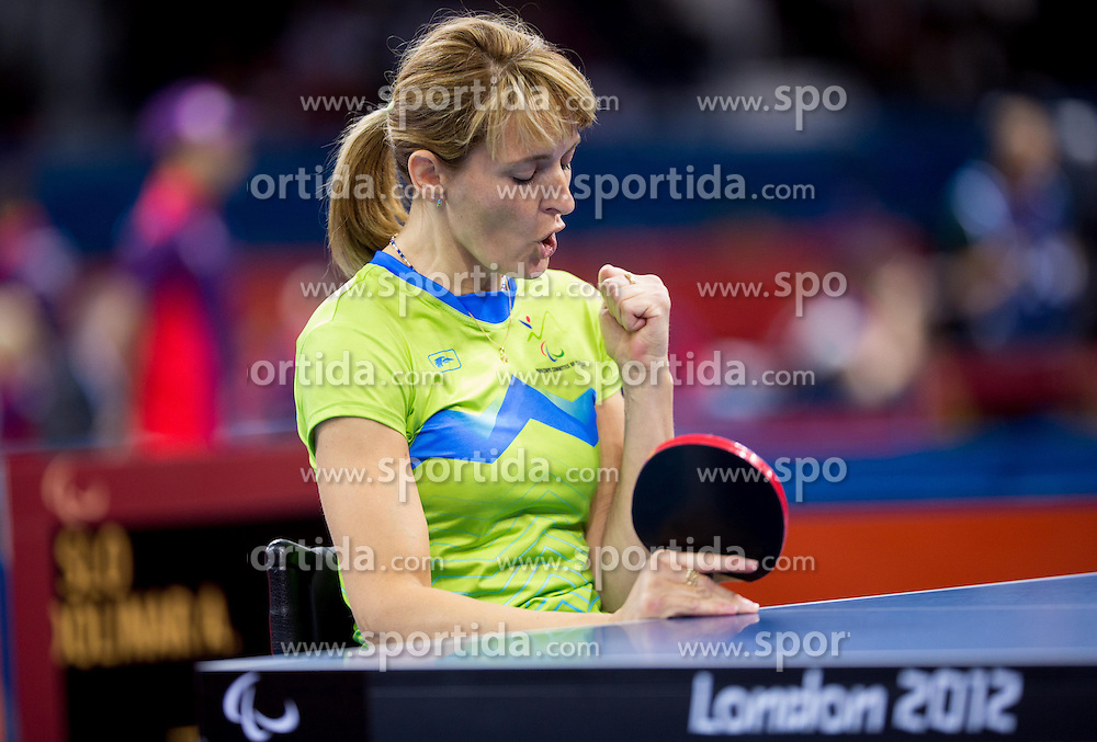 Andreja Dolinar of Slovenia competes in the Women's Singles - Class 4 Table Tennis during Day 2 of the Summer Paralympic Games London 2012 on August 29, 2012, in ExCel, London, Great Britain. (Photo by Vid Ponikvar / Sportida.com)