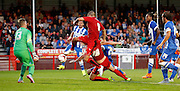 Jimmy Smith can't quite catch onto the ball during the Pre-Season Friendly match between Crawley Town and Brighton and Hove Albion at the Checkatrade.com Stadium, Crawley, England on 22 July 2015. Photo by Michael Hulf.