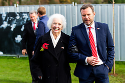 Marina Dolman and Mark Ashton look on as Representatives of Bristol City take part in a ceremony to plant tree's in memory of the 7 Bristol City player's who lost their lives serving during WW1 - Rogan/JMP - 09/11/2018 - FOOTBALL - Failand Training Ground - Bristol, England.