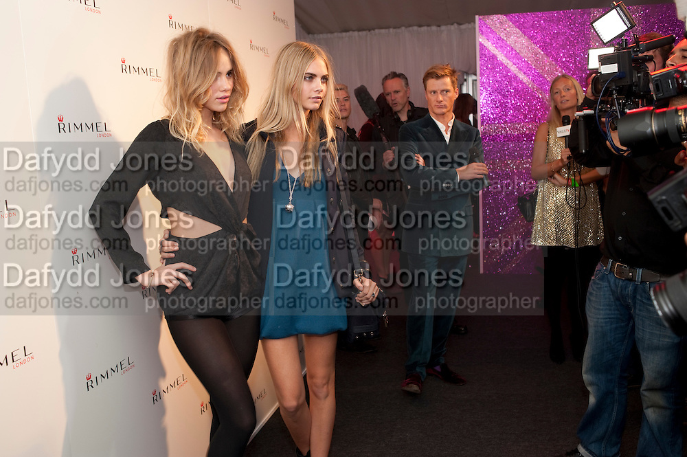 SUKI WATERHOUSE; CARA DELEVIGNE, Celebration of 10 years with Kate Moss as the face of the make-up brand Rimmel.  Battersea Power Station. London. 15 September 2011<br /> <br /> <br />  , -DO NOT ARCHIVE-&copy; Copyright Photograph by Dafydd Jones. 248 Clapham Rd. London SW9 0PZ. Tel 0207 820 0771. www.dafjones.com.
